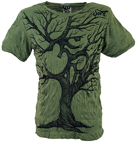 Guru-Shop Sure T-Shirt OM Tree, Herren, Olive, Baumwolle, Size:L, Bedrucktes Shirt Alternative Bekleidung