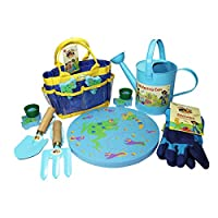 Little Pals Gardening Kit, Blue, with Watering Can, Gloves, Kneeling Cushion and Pot Holders