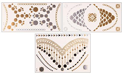 Elegant Chain Set | 3 Sheets & 27 Motive | Flash Tattoo | Original POSH Tattoo®