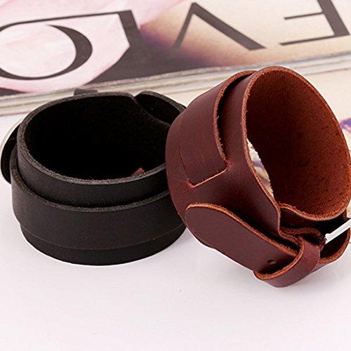 Jiayiqi Élégant Style Punk Conception Simple En Cuir Vintage Bracelet Gourmette Pour Hommes Brun
