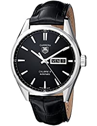 Tag Heuer Men 'S Leather Automatic Watch with Black Dial Analogue Display WAR201 A. FC6266