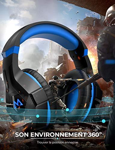 Mpow EG9 Casque Gaming PS4, Casque Gamer avec Lumière LED RGB, Son Surround, Casque Gaming avec Microphone à Réduction de...