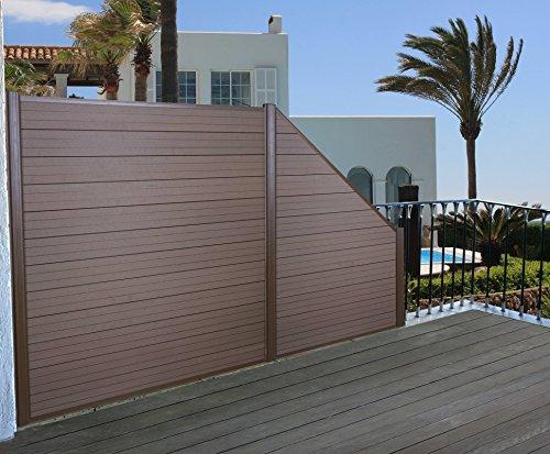Mendler WPC-Sichtschutz Sarthe, Windschutz Zaun, Alu Premium