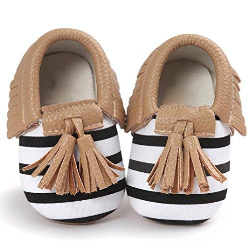 Saingace® bébé glands garçons filles crèche bowknot chaussures chaussures enfant chaussures de sport,0-18mois (13cm, Marron) Marron