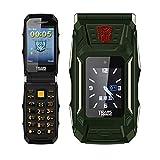 Polkeiser 1.77 Pollici Impermeabile a Prova di Urti Impermeabile a Prova di Urti Cellulare, Doppio Schermo Grande Pulsante Dual Sim Telefono Mobile, Verde