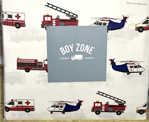 100% cotton - emergency vehicles FULL Sheet Set (ambulance, police car, fire engine, helicopter)