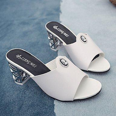 zhENfu donna pantofole & amp; flip-flops sandali Comfort PU esterna di estate passeggiate fibbia tacco basso Bianco Nero 1A-1 3/4in White