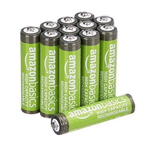 AmazonBasics - AAA-Batterien mit hoher Kapazität, wiederaufladbar, 850 mAh (12er-Pack), vorgeladen