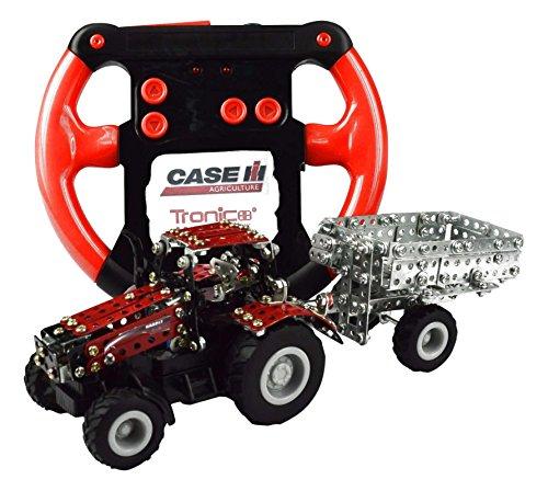 RC Auto kaufen Traktor Bild: Tronico 09581 - Metallbaukasten Traktor Case IH Magnum 340 mit Kippanhänger und Fernsteuerung, Maßstab 1:64, Micro Serie, rot, 461 Teile*