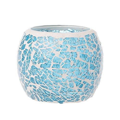 Yunso Bleu romantique photophores Verre Europe Style mosaïque bougeoirs Cylindre votive Décoration de tasses