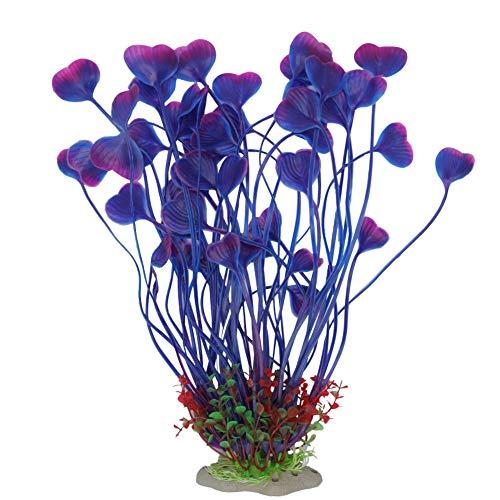 SENZEAL Aquarium Pflanzen Künstlich Wasserpflanzen Groß Aquarium Deko Wasser Herzform Gras für Aquarium Fisch Tank Dekoration (Lila) -