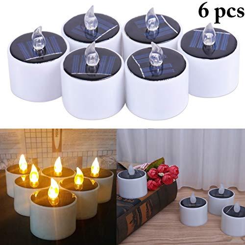 Stück Solar Kerzen Außen Interior Solar Teelichter Wasserdicht Flammenlose Kerzen Solarleuchte Teelichter Nachtlicht für Partei Hochzeit Festival Dekoration (Warmweiß) ()