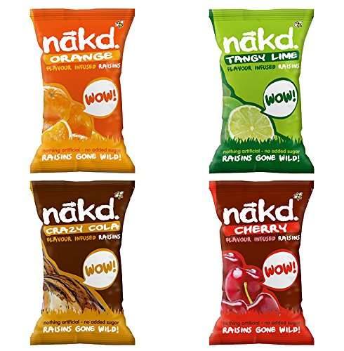NAKD Infused Raisins Selection 4 Flavours 20 Bags (Orange, Lime, Cola, Cherry) Test