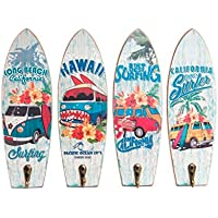 Dcasa - Set 4 cuadro de pared madera perchero vintage SURF 22x7 cm .