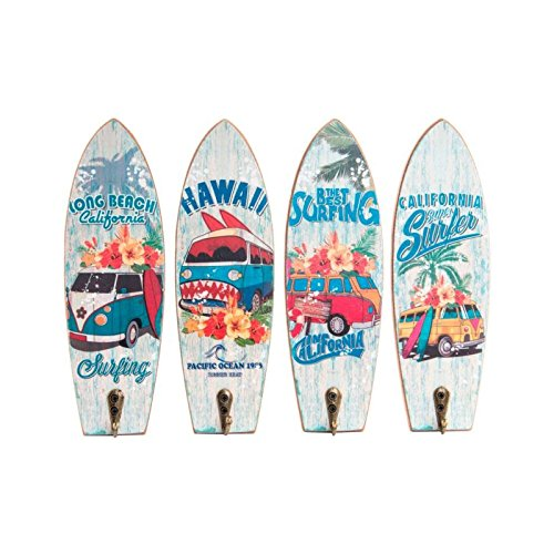 Dcasa - Set 4 cuadro de pared madera perchero vintage SURF 22x7 cm .