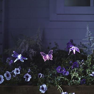 3er Set Solar Stableuchten Gartendeko Libelle Kolibri Schmetterling Lights4fun Parent