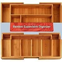 UTOPIA Kitchen Cubertero Expandible Bamboo - Cubertería y Utensilios Organizador - 8 Compartimentos