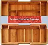 Utopia Kitchen [6-8 Fächer] Besteckkasten Bambus - Erweiterbares Besteckfach - Schubladeneinsatz für Küchenschränke