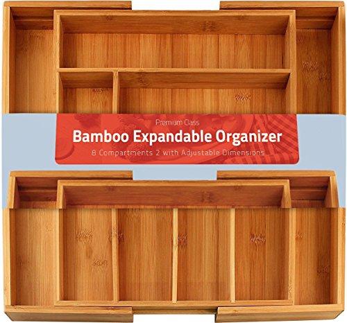 UTOPIA Kitchen [6-8 compartimientos Ajustables] Cubertero Expandible Bamboo - Cubertería y Utensilios Organizador