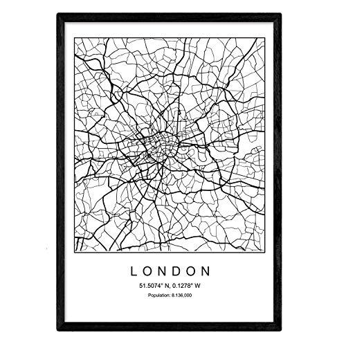Nacnic Lámina Mapa Ciudad London Estilo nordico Blanco