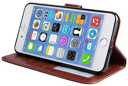 """Iphone 7 Plus Coque silicone, Iphone 7 Plus Accessories, Coque Iphone 7 Plus silicone, Nnopbeclik® Mode Fine Folio Wallet/Portefeuille en Bonne Qualité PU Cuir Housse (5.5 Pouce) """"Datura"""" fleur de Gau marron"""