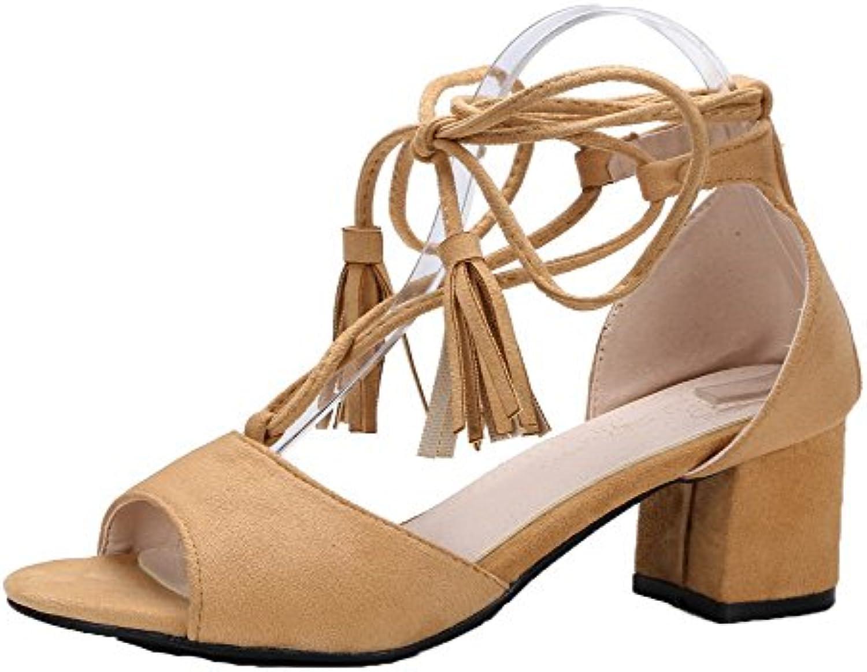 AgooLar Mujeres Tacón Medio Sólido Cordones Sandalias de Vestir
