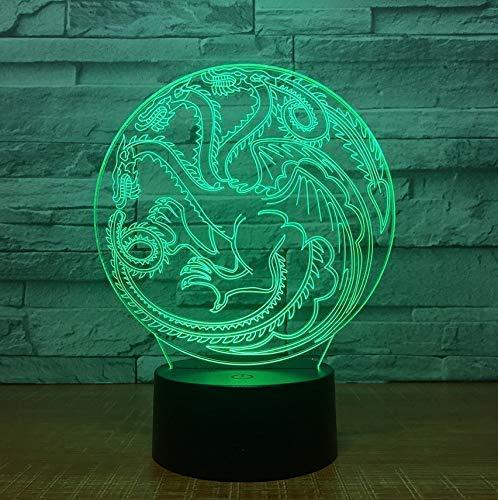 Juego de Trono Souvenir Dragon Totem 3D LED Lámpara de Noche de Acrílico con 7 Colores Táctil Control Remoto