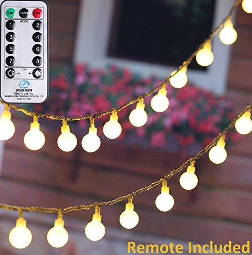 Preisvergleich Produktbild 10 Meters LED Globe Lichterkette Warmweiß-Globus String Licht Sternenlich tfür Innen und Außen Deko, 100er LEDs Glühbirne mit 8 Modi Controller & Adapterstecker & Transparente Schnur-Weihnachtsbeleuchtung für Party / Garten / Patio / Hochzeit