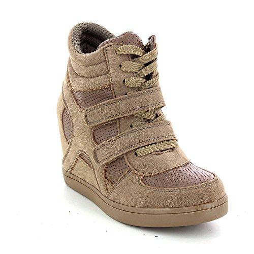 Baskets mode compensées bimatière urban - chaussures femme Marron