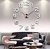 Asvert Horloge Murale 3D Geante Sticker DIY Moderne Pendule Murale Ajustable Autocollant Miroir Acrylique Numérique Décoration pour Salon Maison Bureau Restaurant Hôtel (Argent-2)