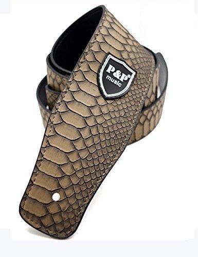 verstellbarer-gitarrengurt-lederband-schlangenleder-textur-fur-elektrische-gitarre-kontrabass-braun