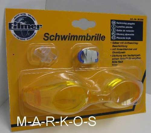 Antibeschlag Schwimmbrille im SET, mit Nasenklammer, Ohrenstöpsel, Taucherbrille / Schwimm Brille gelb (LHS)