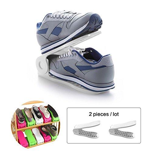 Belüftete Tür-sicherheit (Space Saver Schuhregal, BAFFECT® Shoe Slots Space Saver Schuh Aufbewahrungsbox Stapler Schuh Aufbewahrungsbox Halter Aufbewahrungsbox Organizer Platzsparende Schuhregal Platzsparende Schuhaufbewahrung 2 Stück / Los (White))