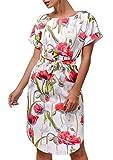 CoCo Fashion Damen Kurzarm Sommerkleid Knielang Beiläufiges Kleid Mit Gürtel Blumen Freizeitkleid (EU L, Rot)