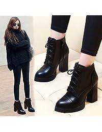 GTVERNH-Mujer botas de invierno botas botas de agua con gruesas correas cruzadas desnudo Martin botas y zapatos...