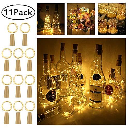 (LED Flaschen-Licht,【11 Stück】20 LEDs 2M Kupferdraht Lichterkette Weinflasche Lichter mit Kork,LED Lichterketten Stimmungslichter Flasche DIY Deko für Party Weihnachten, Hochzeit oder Stimmung Lichter)