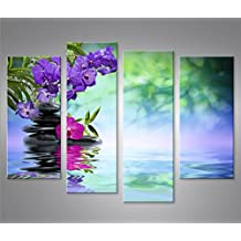 Cuadro en Lienzo Wasser Zen 4er Impresión sobre lienzo - Formato Grande 4 Partes - Impresion en calidad fotografica
