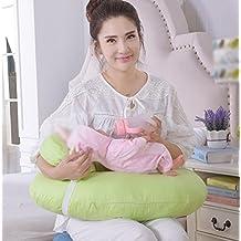GxNI 45 ° almohada de lactancia de lactancia 100% algodón U almohada de lactancia multifuncional básica bebé multi-asiento almohadilla de ajuste extraíble y más azul / verde / naranja / rosa , Green