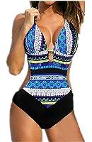 Bohemia Retro Pin Up Monokini - LATH.PIN Women's Halter Floral Printed One Piece Bikini Push Up Swimsuit Bathing Suit Bohemian