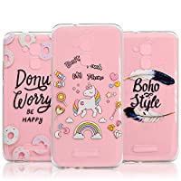 [3 PCS] Asus ZenFone 3 Max ZC520TL Case [Slim & Lightweight], Vandot 3 Pieces Full Edge Protective Case Flexible Soft TPU Crystal Transparent Clear Cover Anti-Scratch Exact Fit Shockproof Practical Back Cover Case for Asus ZenFone 3 Max - Donuts / Unicorn
