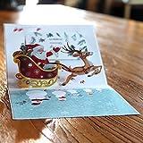 3D Pop Up Grußkarte Weihnachtsbaum Segen Wünsche Postkarte Bunt Mit einem Umschlag Elk Car