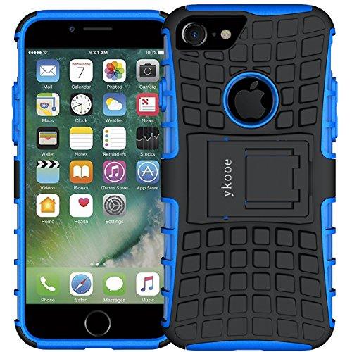 ykooe Handyhülle für iPhone 7 Hülle, (TPU Series) iPhone 7 Dual Layer Hybrid Handyhülle Drop Resistance Handys Schutz Hülle mit Ständer für iPhone 7 und 8 - Blau - Dual 7