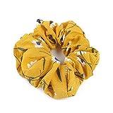 LCLrute Sommer Floral Haar Scrunchies Brötchen Ring elastische Mode Sport Tanz Scrunchie (Gelb)