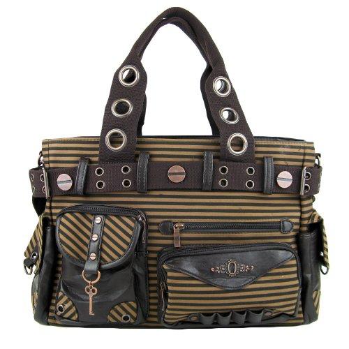 Banned Damen Handtasche - Braun gestreifte Schultertasche