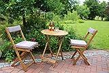 Dreams4Home Gartenmöbelset 'Salta II', Loungemöbel, Gartenmöbel, Stühle, Gartensessel, Relaxsessel, Gartenbank, Gartenstühle, Holz, 2 Stühle, 1 Beistelltisch, Garten, in Akazie