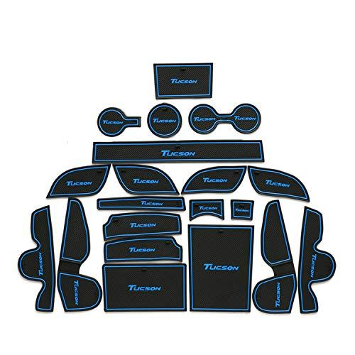 RUIYA rutschfest Auto Innentür-Schalen-Matten Arm Box Aufbewahrungsmatte Pad für 2015-2018 Tucson, Anti-Staub-, Tür-Slot-Pad, Cup Mat, Automotive Dekoration mit Logo