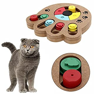 ADOGO Pet Intelligence Toy Interactive Fun Hide and Seek Food Treated Wooden Pet Paw Puzzle Toy