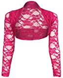krautwear Damen Bolero Langarm Stola Bolerojacke Hochzeit Festlich Spitze schwarz weiß rot beige blau pink (pink)