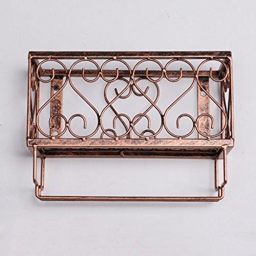 An der Wand befestigtes Metallwein-Gestell, europäisches Eisen-Weinglas-hängendes Regal u. Halter-Regal für Küche / Bar / Restaurant ( Farbe : Bronze , größe : 25*10*18cm )