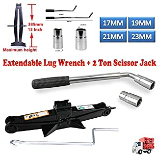 DICN Extendable Lug Nut Wrench Telescopic Wheel Brace 4 Socket Standards 17/19/21/23mm + Scissor Jack 2 Ton/385mm Capacity with Crank Handle - Tyre Changing Repair Emergency Garage Tools